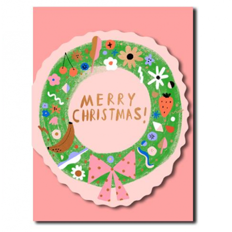 WREATH DIE-CUT HOLIDAY GREETING CARD, BY CAROLYN SUZUKI