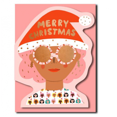 XMAS PARTY GIRL DIE-CUT HOLIDAY GREETING CARD, BY CAROLYN SUZUKI
