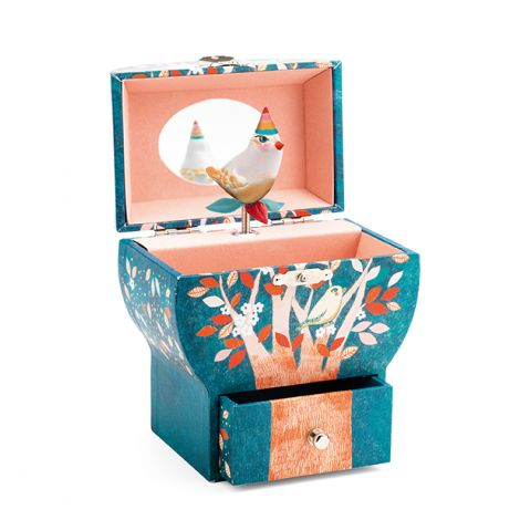 SINGING NIGHT BIRD SILHOUETTE MUSIC BOX