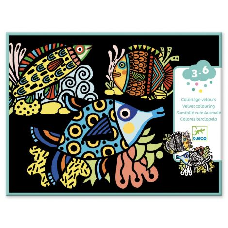 VELVET COLOURING ACTIVITY SET: SILHOUETTES OF PRETTY FISHES