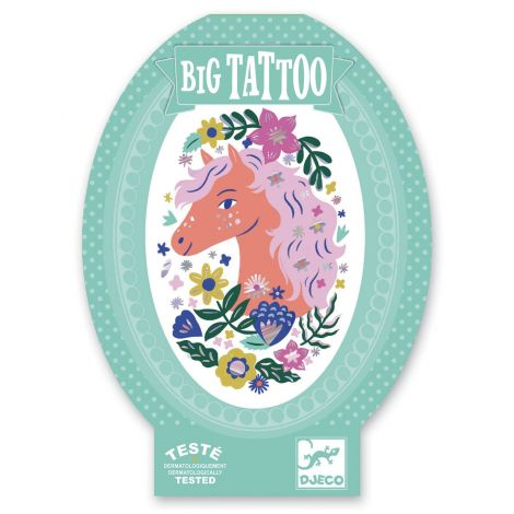 [BUY 4 GET 5TH FREE] TEMPORARY BIG IRIDESCENT TATTOO: POETIC HORSE