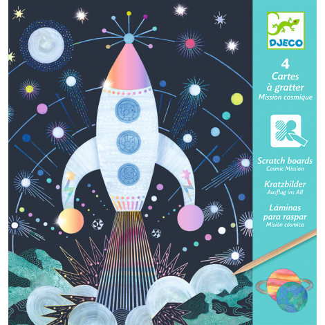 HOLOGRAPHIC SCRATCH ART ACTIVITY SET: COSMIC MISSION
