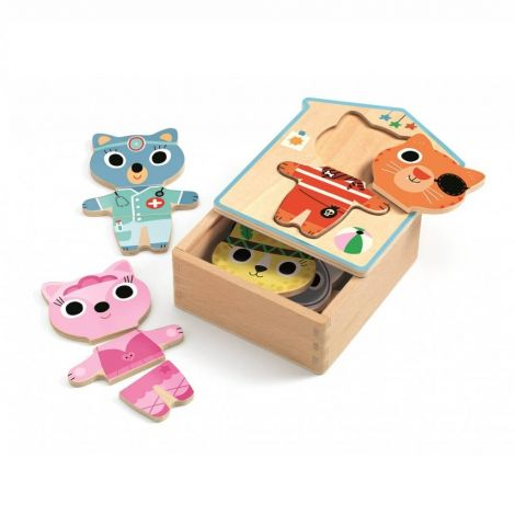 DRESS-UP MIX WOODEN RELIEF PUZZLE