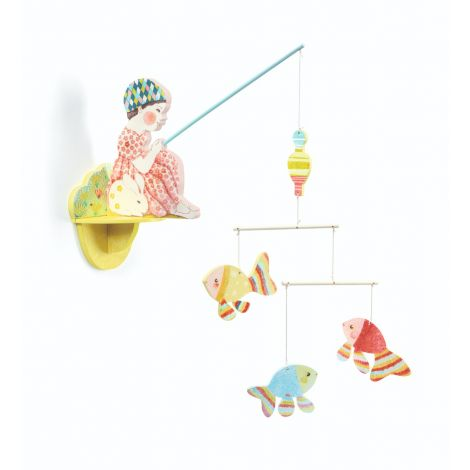WOODEN FISHER GIRL WALL MOBILE