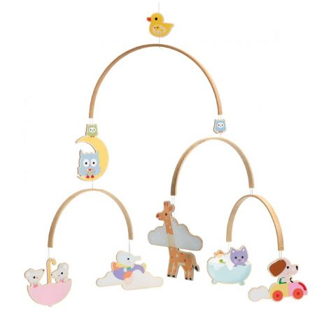 ANIMAL BABIES WOODEN MOBILE