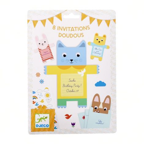 PARTY INVITES SET OF 8: CUDDLY TOYS