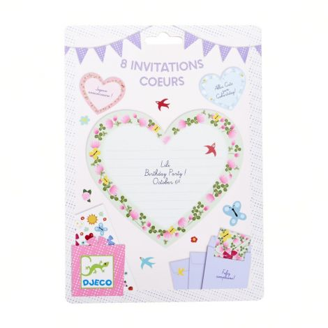 PARTY INVITES SET OF 8: HEARTS