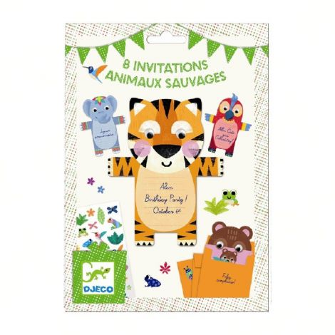 PARTY INVITES SET OF 8: WILD ANIMALS
