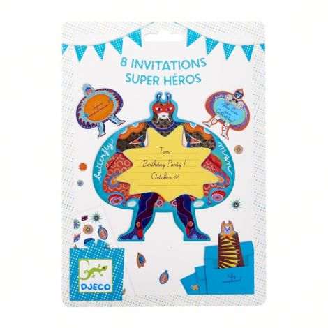 PARTY INVITES SET OF 8: SUPERHEROES