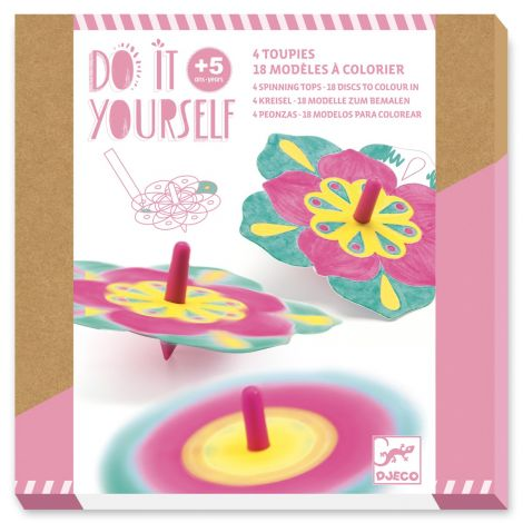 DO IT YOURSELF ACTIVITY SET: FLOWER SPINNING TOPS TO CREATE
