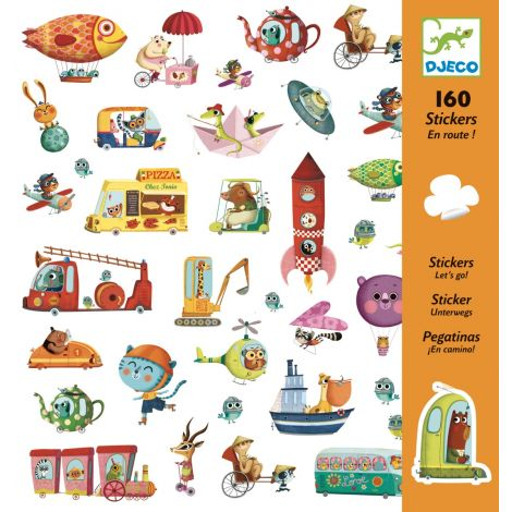 SET OF 160 STICKERS: ANIMALS IN VEHICLES