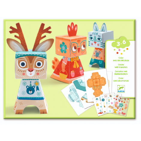 PAPER FOLDING + RUB-ON TRANSFER DECALS ART ACTIVITY SET: FUNNY ANIMALS
