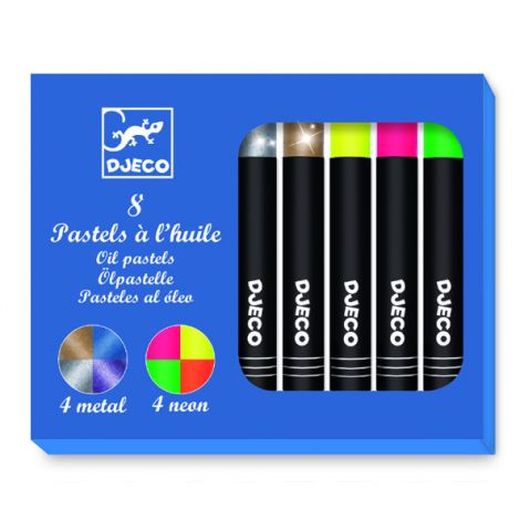METALLIC + NEON OIL PASTEL CRAYONS SET OF 8