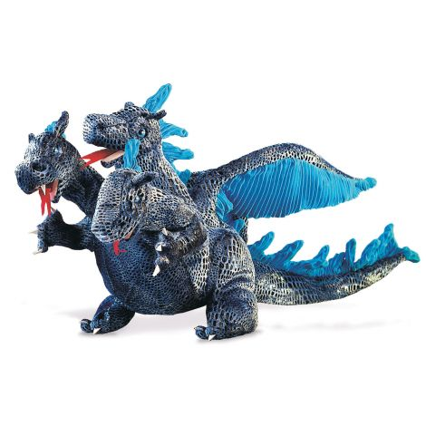 BLUE THREE-HEADED DRAGON HAND PUPPET