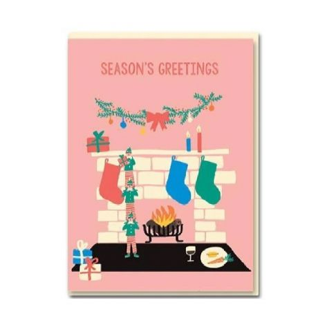 CHRISTMAS AROUND THE FIRE HOLIDAY GREETING CARDS, BY EMMA COOTER (BOX OF 8)