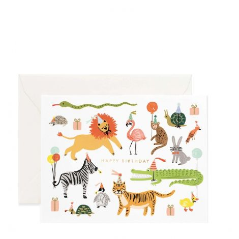 PARTY ANIMALS BIRTHDAY GREETING CARD, BY RIFLE PAPER CO.