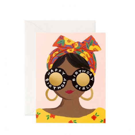 SCARF BIRTHDAY GIRL GREETING CARD, BY RIFLE PAPER CO.