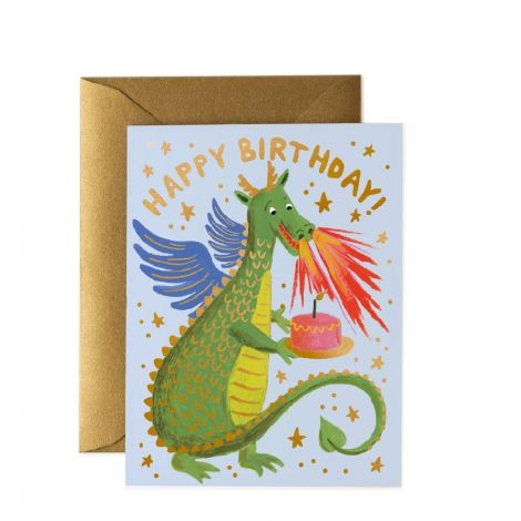 BIRTHDAY DRAGON GREETING CARD, BY RIFLE PAPER CO.