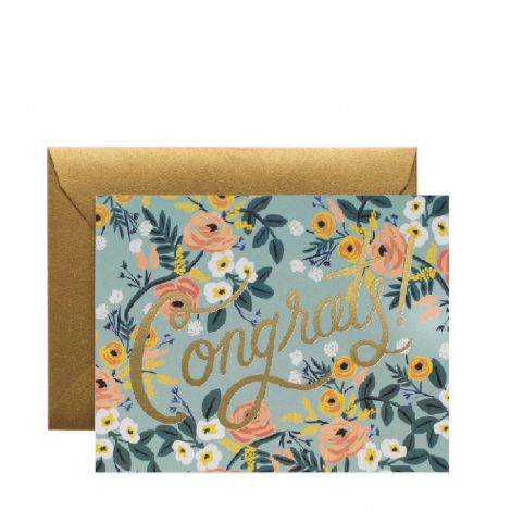 BLUE MEADOW CONGRATS GREETING CARD, BY RIFLE PAPER CO.