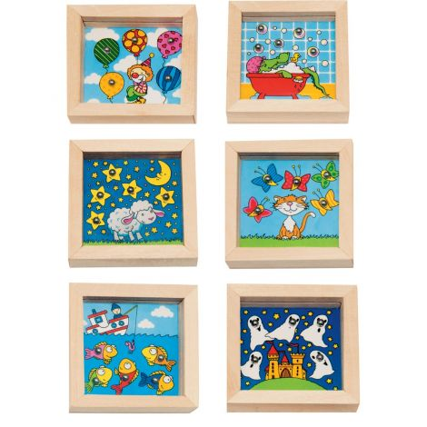 MINI WOODEN SQUARE PATIENCE PUZZLES, SET OF 6