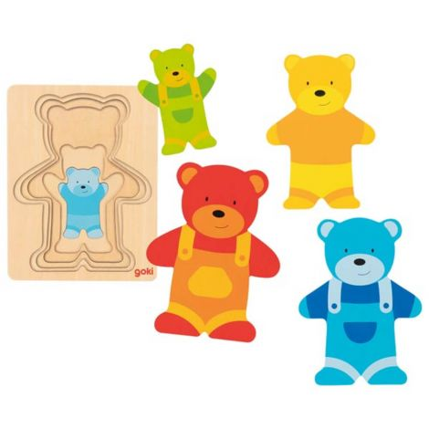 5-LAYER WOODEN SIZE PUZZLE: TEDDY BEARS