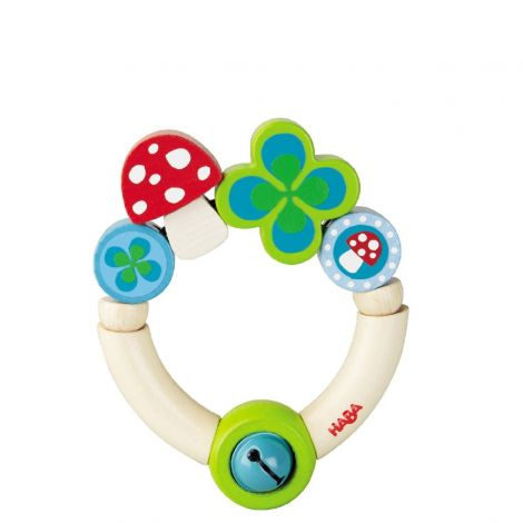 LUCKY CHARM WOODEN TEETHING RING RATTLE