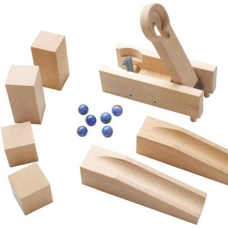 HABA MARBLE RUN: 13PC CATAPULTING SEESAW EXPANSION SET