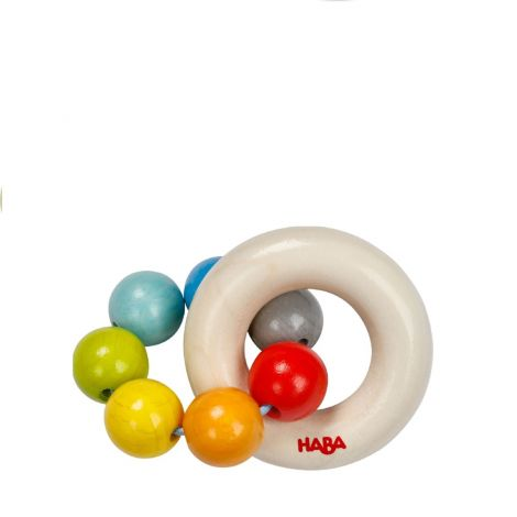 COLOURFUL WOODEN BEADS TEETHING RATTLE
