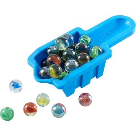 MARBLE CONTAINER WITH 36 MARBLES