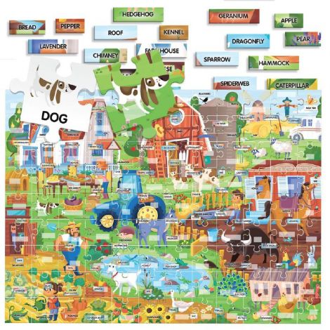 100 EASY ENGLISH WORDS PUZZLE: THE FARM (108PCS)