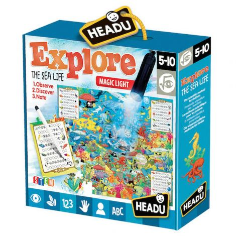MAGIC LIGHT JIGSAW PUZZLE: EXPLORE THE SEA LIFE (70PCS)