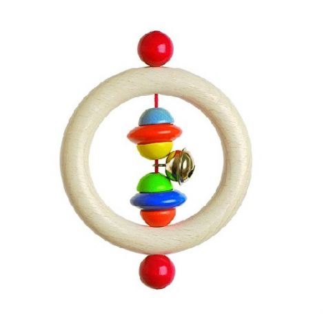 BEADS & BELL WOODEN RING RATTLE