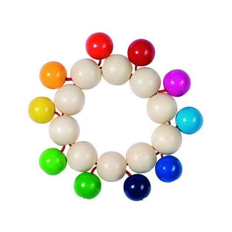 RAINBOW BEADS WOODEN RATTLE