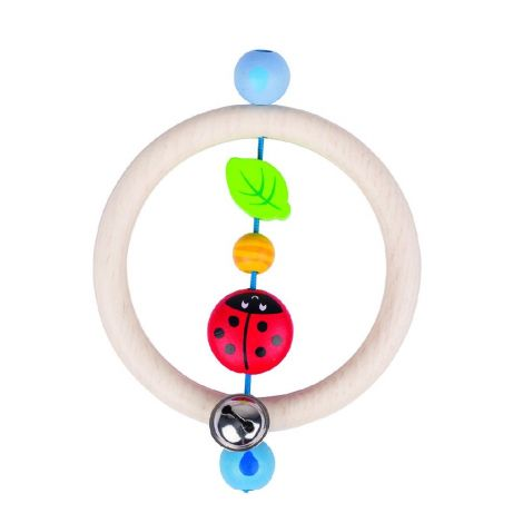 LADYBIRD WOODEN RING RATTLE