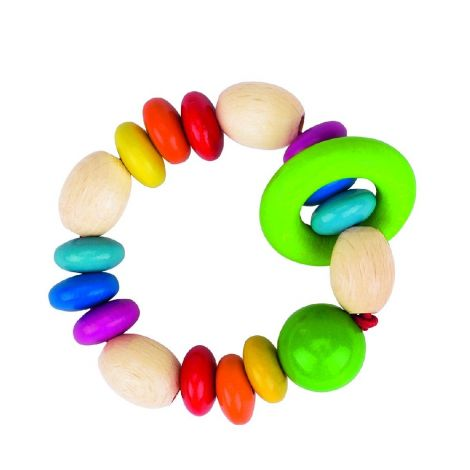 RAINBOW DISCS WOODEN RING RATTLE