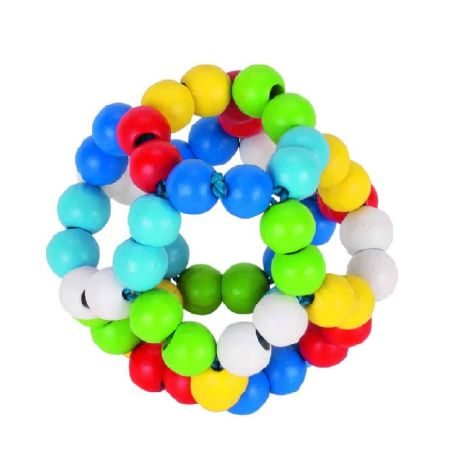MULTI-COLOURED WOODEN TEETHING CLUTCH BALL