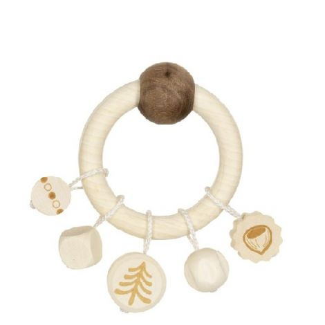 NATURE: SQUIRREL WOODEN TEETHING RING RATTLE WITH CHARMS