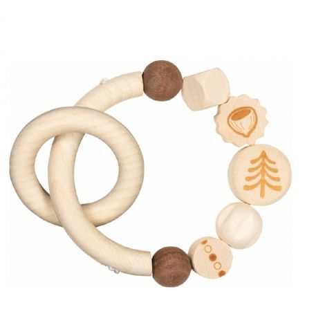 NATURE: SQUIRREL WOODEN TEETHING RATTLE WITH RING