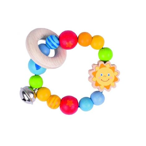SUN WOODEN RING RATTLE