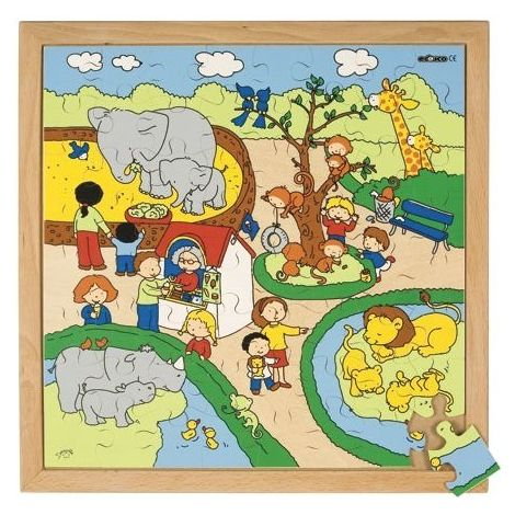 WOODEN JIGSAW PUZZLE: CHILDREN'S RECREATION - ZOO (64PC)