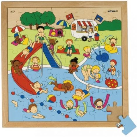 WOODEN JIGSAW PUZZLE: CHILDREN'S RECREATION - SWIMMING POOL (64PC)