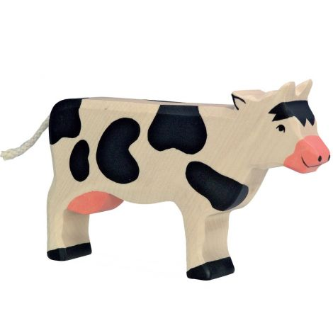 STANDING FRIESIAN COW WOODEN FIGURINE