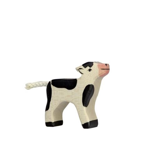 MILKING FRIESIAN CALF WOODEN FIGURINE