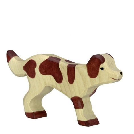 BROWN-SPOTTED FARM DOG WOODEN FIGURINE