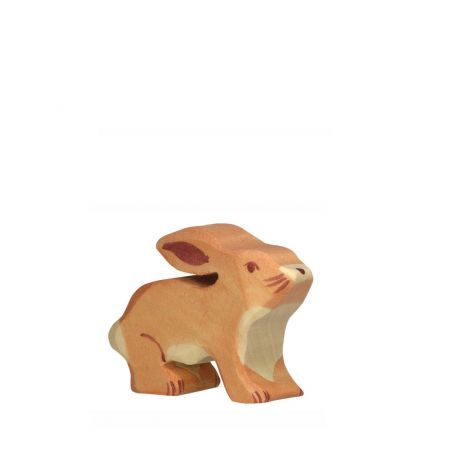 SNIFFING RABBIT WOODEN FIGURINE