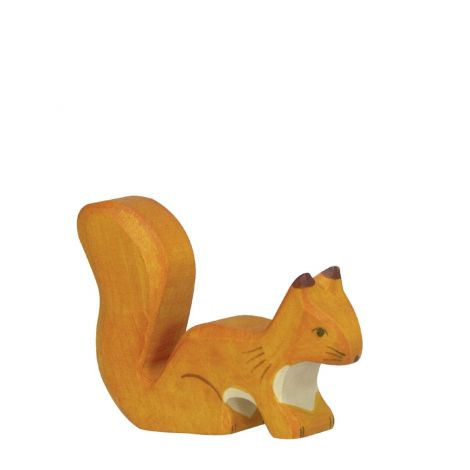 WALKING SQUIRREL WOODEN FIGURINE