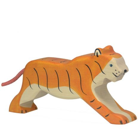 RUNNING TIGER WOODEN FIGURINE