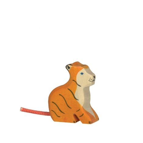 SITTING TIGER CUB WOODEN FIGURINE