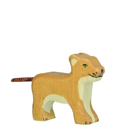 STANDING LION CUB WOODEN FIGURINE