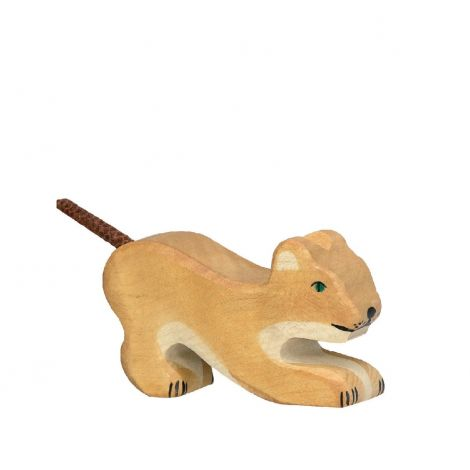CROUCHING LION CUB WOODEN FIGURINE